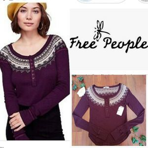 NWT FREE PEOPLE PURPLE HENLEY | XS
